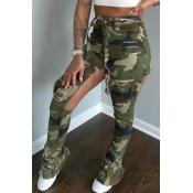 lovely Stylish Camo Print Army GreenPants
