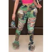 Lovely Stylish Camo Print Army GreenPlus Size Jea