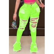 lovely Trendy Hollow-out Green Plus Size Jeans
