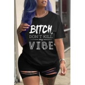 lovely Leisure O Neck Letter Black Plus Size Two-p
