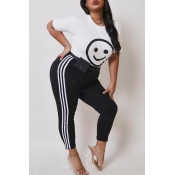 lovely Casual Print White Plus Size Two-piece Pant