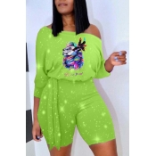 lovely Leisure Print Green Two-piece Shorts Set