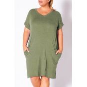 lovely Casual Pocket Patched Army Green Knee Lengt