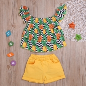 lovely Casual Print Yellow Girl Two-piece Shorts S