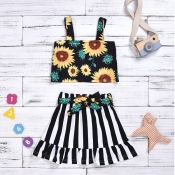lovely Stylish Print Black Girl Two-piece Skirt Se