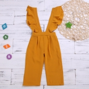 lovely Stylish Flounce Design Yellow Girl One-piec