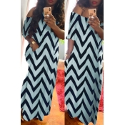 lovely Chic Print Baby Blue Maxi Dress