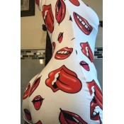 lovely Trendy Lip Print Red Plus Size One-piece Ro
