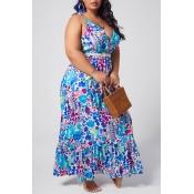 lovely Bohemian Floral Print Deep Blue Ankle Lengt