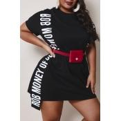 lovely Casual Letter Black Mini Plus Size Dress