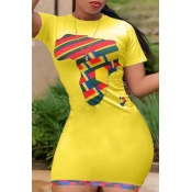 lovely Casual O Neck Print Yellow Mini Plus Size D