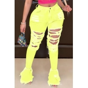 Lovely Trendy Hollow-out Yellow Plus Size Jeans