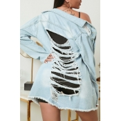 lovely Stylish Broken Holes Blue Denim Jacket