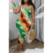 Lovely Trendy Print Green Mid Calf Plus Size Dress