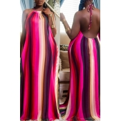 Lovely Stylish Striped Multicolor Maxi Plus Size D