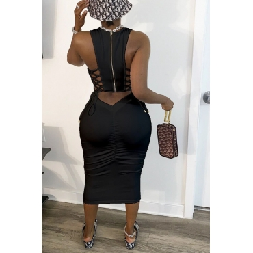 Lovely Leisure Bandage Design Black Mid Calf Dress