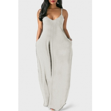 Lovely Leisure Pocket Patched Grey Maxi Plus Size Dress