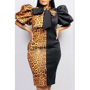 Lovely Trendy Patchwork Leopard Print Knee Length Plus Size Dress