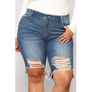 Lovely Stylish Hollow-out Blue Plus Size Shorts
