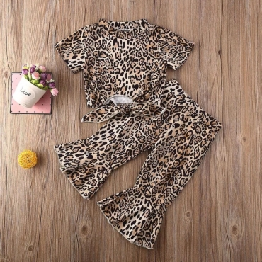 Lovely Trendy Leopard Print Girl Two-piece Pants Set