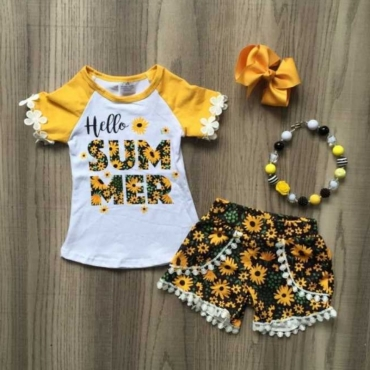Lovely Casual Print Yellow Girl Two-piece Shorts Set