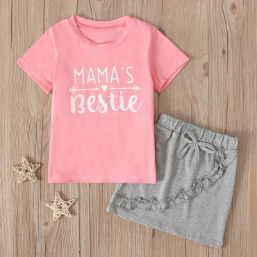 Lovely Casual Letrter Pink Girl Two-piece Skirt Set