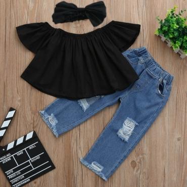 Lovely Trendy Broken Holes Black Girl Two-piece Pants Set