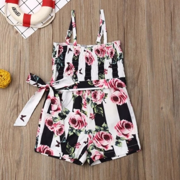 Lovely Trendy Print Black Girl One-piece Romper