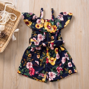 Lovely Sweet Floral Print Blue Girl One-piece Romper