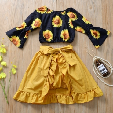 Lovely Sweet Print Black Girl Two-piece Shorts Set