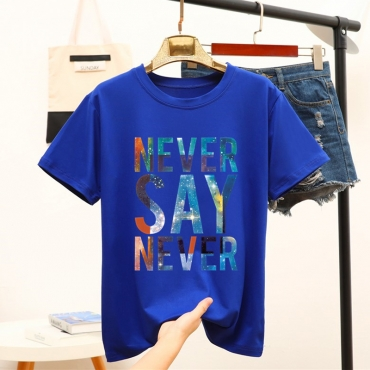 Lovely Casual O Neck Letter Blue T-shirt