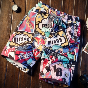 Lovely Stylish Cartoon Print Pink Shorts