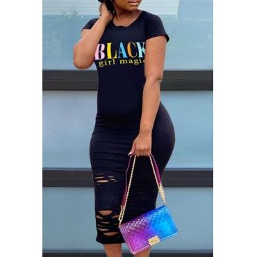 Lovely Leisure O Neck Letter Black Mid Calf Plus Size Dress