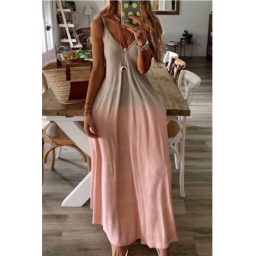 Lovely Casual Gradual Change Pink Ankle Length Plus Size Dress
