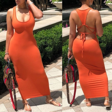Lovely Sexy Backless Orange Red Ankle Length Dress