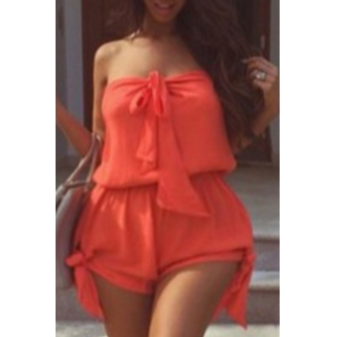 Lovely Stylish Lace-up Red Plus Size One-piece Romper