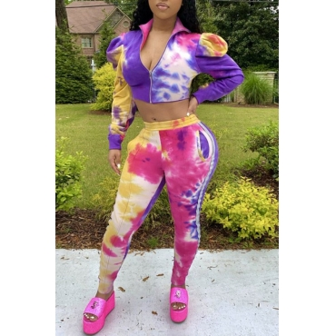 Lovely Trendy Tie-dye Purple Two-piece Pants Set