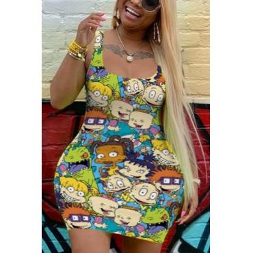 Lovely Casual Cartoon Print Multicolor Mini Plus Size Dress