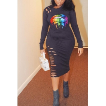 Lovely Stylish O Neck Lip Print Black Knee Length Plus Size Dress