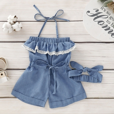 Lovely Sweet Lace-up Blue Girl One-piece Romper