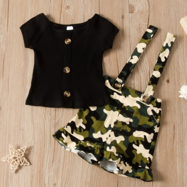 Lovely Trendy Print Black Girl Two-piece Shorts Set