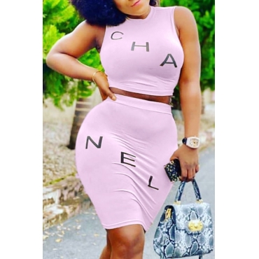 Lovely Casual Letter Pink Two-piece Skirt Set