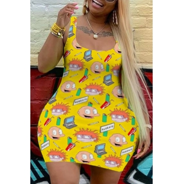 Lovely Casual Cartoon Print Yellow Mini Plus Size Dress