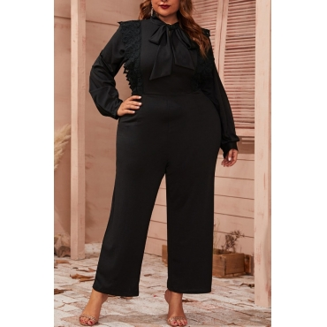 Lovely Trendy Lace-up Black Plus Size One-piece Jumpsuit