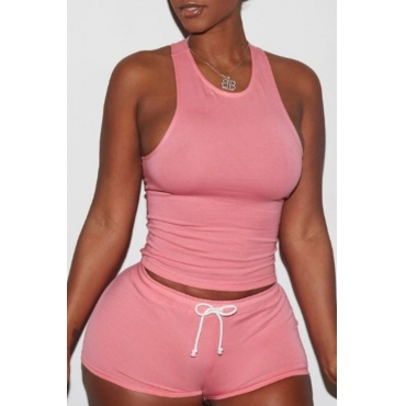 Lovely Leisure Lace-up Pink Loungewear