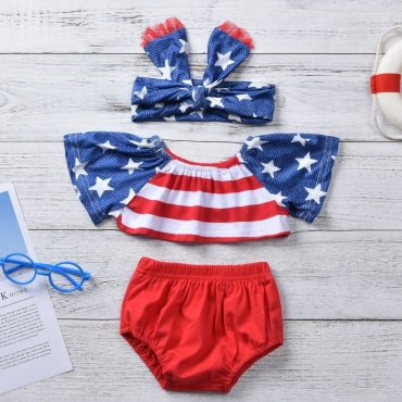 Lovely Independence Day Casual Print Red Girl Two-piece Shorts Set