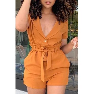 Lovely Stylish Lace-up Orange Two-piece Shorts Set