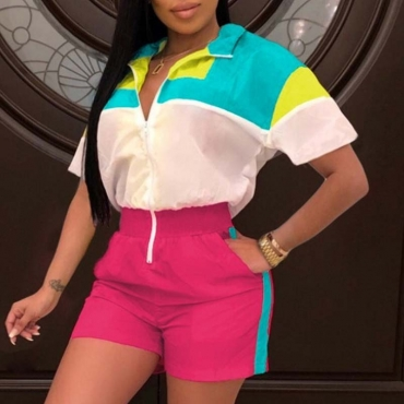 Lovely Sportswear Color-lump Patchwork Pink One-piece Romper
