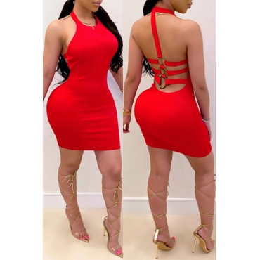 Lovely Sexy Backless Red Mini Dress