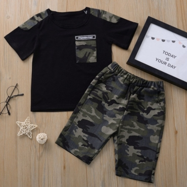Lovely Casual Print Patchwork Black Boy Two-piece Shorts Set